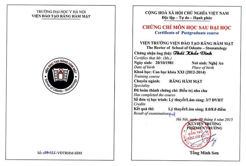 Chứng chỉ điều trị Nha chu Thái Khắc Vinh