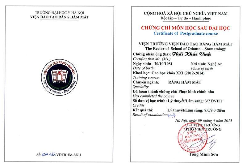 Chứng chỉ phục hình chỉnh nha Thái Khắc Vinh